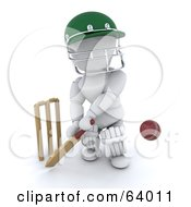 Royalty Free RF Clipart Illustration Of A 3d White Character Cricketer Version 4