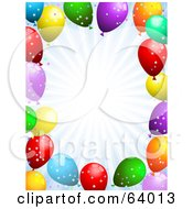 Royalty Free RF Clipart Illustration Of A Pastel Burst Background Bordered With Confetti And Party Balloons by KJ Pargeter