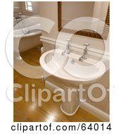 Royalty Free RF Clipart Illustration Of A Hand Washing Sink Under A Mirror In A Bathroom With A Claw Foot Tub And Wood Floors by KJ Pargeter