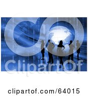 Royalty Free RF Clipart Illustration Of A Group Of Silhouetted Business People Around A Blue Globe On A Binary Background