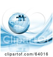 Royalty Free RF Clipart Illustration Of A Blue 3d Globe Puzzle With One Missing Piece Over A White Background With Blue Waves by KJ Pargeter