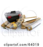Royalty Free RF Clipart Illustration Of A 3d Tool Box With A Power Drill Screwdrivers Saws And Lumber