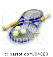 Royalty Free RF Clipart Illustration Of Three 3d Tennis Balls Resting On Rackets by KJ Pargeter
