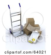 3d Hand Truck By Shipping Boxes And A Clipboard