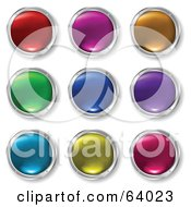 Royalty Free RF Clipart Illustration Of A Digital Collage Of Colorful Shiny Round Buttons Rimmed In Chrome