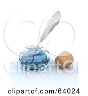 Royalty Free RF Clipart Illustration Of A White Feather Quill Resting In A Glass Ink Well By A Cork by KJ Pargeter