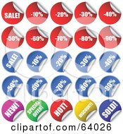 Royalty Free RF Clipart Illustration Of A Digital Collage Of Peeling Colorful Retail Sale Stickers by KJ Pargeter