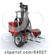 Royalty Free RF Clipart Illustration Of A 3d Red Industrial Forklift by KJ Pargeter