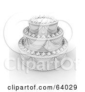 Elegant White Three Tiered Wedding Cake With Elaborate Icing