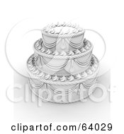 Royalty Free RF Clipart Illustration Of An Elegant White Three Tiered Wedding Cake With Elaborate Icing by KJ Pargeter