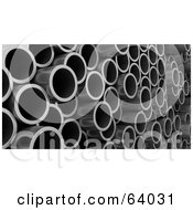 Royalty Free RF Clipart Illustration Of A Side Angle View Of Metal Pipes by KJ Pargeter