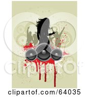 Royalty Free RF Clipart Illustration Of A Silhouetted Woman And Friend Dancing Above Speakers With Red Grunge On Brown