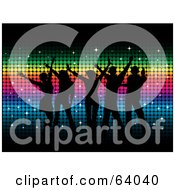 Royalty Free RF Clipart Illustration Of A Group Of Black Silhouetted Dancers Over A Rainbow Colored Mosaic Background by KJ Pargeter