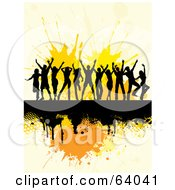 Royalty Free RF Clipart Illustration Of A Group Of Silhouetted Dancers On A Black Grunge Bar Over Orange Splatters by KJ Pargeter
