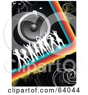 Royalty Free RF Clipart Illustration Of White Silhouetted Dancers On A Rainbow Curve Under Speakers On A Black Background by KJ Pargeter