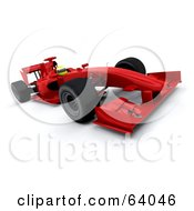 Royalty Free RF Clipart Illustration Of A 3d Red F1 Race Car Angle 1 by KJ Pargeter