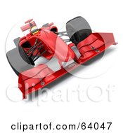 Royalty Free RF Clipart Illustration Of A 3d Red F1 Race Car Angle 2 by KJ Pargeter