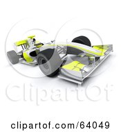Royalty Free RF Clipart Illustration Of A 3d Chrome And Yellow F1 Race Car by KJ Pargeter