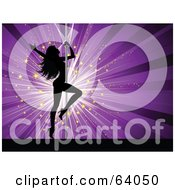 Royalty Free RF Clipart Illustration Of A Sexy Silhouetted Pole Dancer On A Bursting Purple Background With Stars