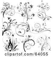 Royalty Free RF Clipart Illustration Of A Digital Collage Of Nine Black And White Floral Scroll Design Elements On White