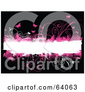 Royalty Free RF Clipart Illustration Of Grungy Pink Halftone Vines And Butterflies Around A White Text Box On Black
