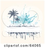 Grungy White Text Box With Drips And Palm Trees