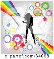 Royalty Free RF Clipart Illustration Of A Black Silhouetted Female Dancer Over A Funky Rainbow Star And Burst Background by KJ Pargeter