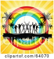 Royalty Free RF Clipart Illustration Of A Silhouetted Dancers On A Black Grunge Bar Between Palm Trees In Front Of A Rainbow Circle On A Bursting Yellow Background by KJ Pargeter
