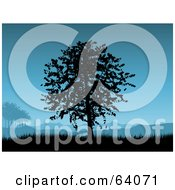 Royalty Free RF Clipart Illustration Of A Tree Silhouetted In Black Against A Blue Sky With Hills And Grass