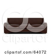 Royalty Free RF Clipart Illustration Of A 3d Brown Sofa Couch On A White Background