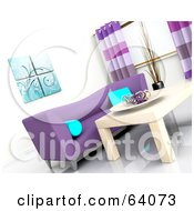 Royalty Free RF Clipart Illustration Of A Tilted Angle Of A 3d Modern Living Room Interior With A Purple Sofa And Light Wood Table