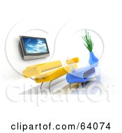 Royalty Free RF Clipart Illustration Of A 3d Plasma Tv On A Wall Over A Yellow Modern Sofa With A Coffee Table by KJ Pargeter