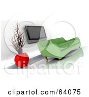Royalty Free RF Clipart Illustration Of A Green 3d Modern Sofa Under A Plasma Tv In A Modern Living Room by KJ Pargeter