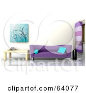 Royalty Free RF Clipart Illustration Of A 3d Interior With A Purple Sofa And Light Wood End Table