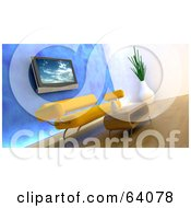 Royalty Free RF Clipart Illustration Of A 3d Plasma Tv On A Blue Wall Over An Orange Modern Sofa With A Coffee Table by KJ Pargeter
