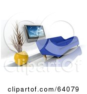 Royalty Free RF Clipart Illustration Of A Blue 3d Modern Sofa Under A Plasma Tv In A Modern Living Room by KJ Pargeter