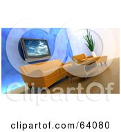 Royalty Free RF Clipart Illustration Of A Modern Living Room With Wood Floors Orange Furniture A Blue Wall And A Plasma Tv by KJ Pargeter