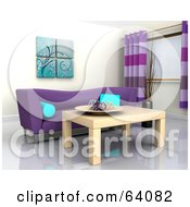 Royalty Free RF Clipart Illustration Of A 3d Interior With A Purple Sofa And Light Wood Table by KJ Pargeter