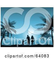 Royalty Free RF Clipart Illustration Of A Silhouetted Family Walking And Holding Hands On A Tropical Beach In The Blue Moon Light