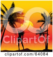 Royalty Free RF Clipart Illustration Of A Sexy Silhouetted Woman Standing Between Palm Trees Against An Orange Sunset