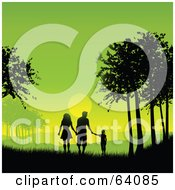 Royalty Free RF Clipart Illustration Of A Silhouetted Family Holding Hands And Walking Between Trees Against A Green Sunset by KJ Pargeter
