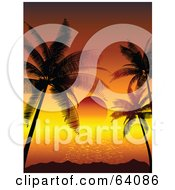 Royalty Free RF Clipart Illustration Of A Red Tropical Sun Setting Between Silhouetted Palm Trees On The Horizon by KJ Pargeter