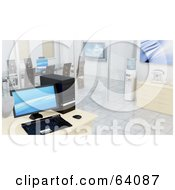 Royalty Free RF Clipart Illustration Of A 3d Interior Of A Modern Office With A Computer Coffee Station Water Cooler And Meeting Room by KJ Pargeter