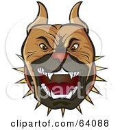 Royalty Free RF Clipart Illustration Of A Protective Pitbull Terrier Dog Wearing A Spiked Collar And Barking
