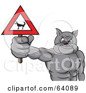 Royalty Free RF Clipart Illustration Of A Strong Bulldog Holding A Beware Dog Sign by Paulo Resende