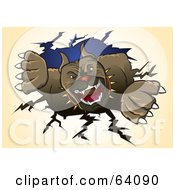 Royalty Free RF Clipart Illustration Of A Ferocious Pitbull Terrier Dog Ripping Through A Wall