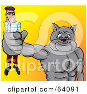 Royalty Free RF Clipart Illustration Of A Strong Bulldog Holding A Burglar In His Fist by Paulo Resende