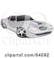 Royalty Free RF Clipart Illustration Of A Sleek Pearl White Muscle Car With White Racing Stripes And A Hood Scoop