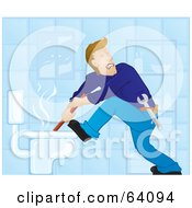 Royalty Free RF Clipart Illustration Of A Plumber Turning Away While Plunging A Toilet In A Blue Tiled Bathroom