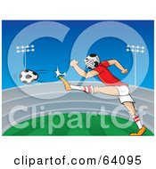 Royalty Free RF Clipart Illustration Of A Soccer Headed Athlete Kicking A Ball In A Field by Paulo Resende